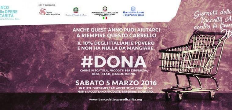 Sabato, 5 Marzo, Giornata della Raccolta Alimentare contro la Fame in Italia.